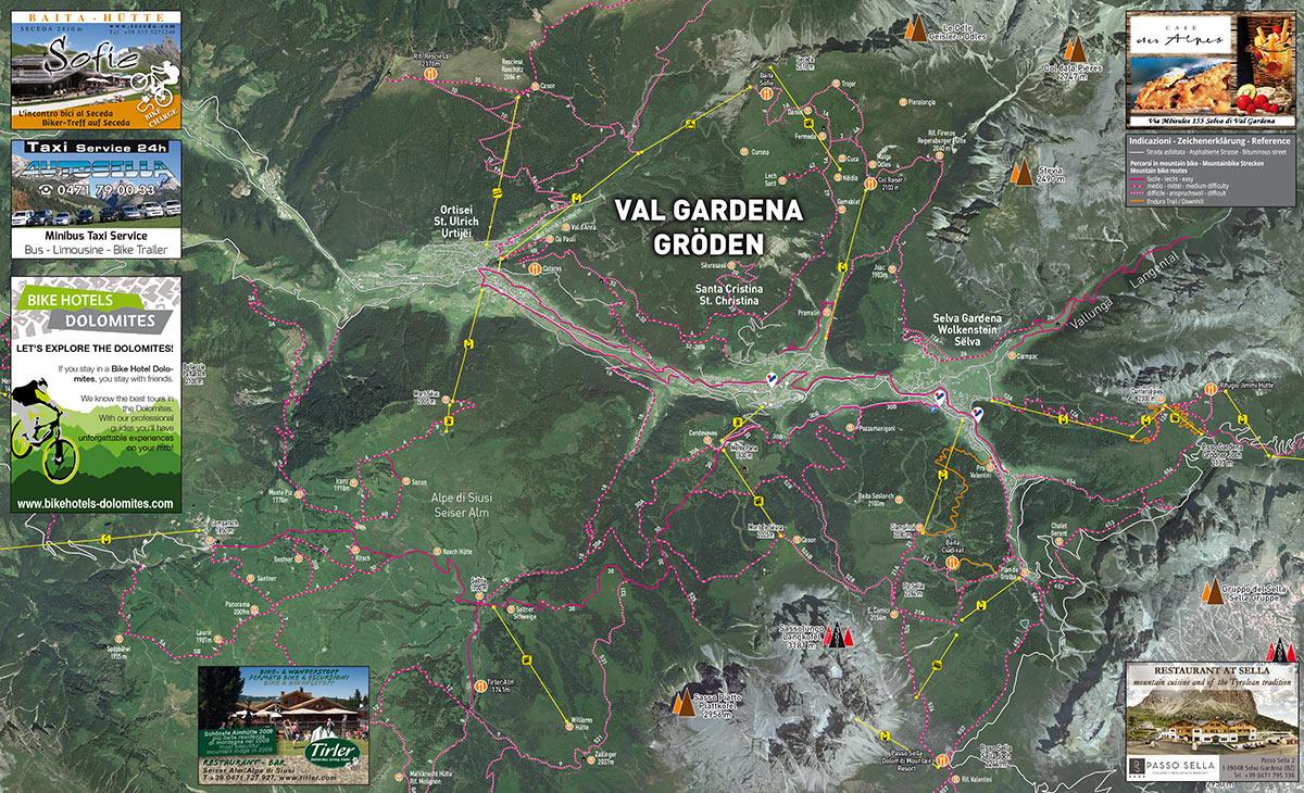 Bike Karte Gröden, Seiser Alm, Dolomiten, Sellaronda